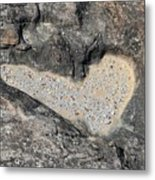 The Heart In Stone Metal Print
