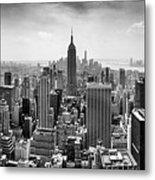 New York City Skyline Bw Metal Print