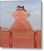 The Heiland Coo At Christmas Metal Print