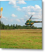 The Helicopter Over A Green Airfield. Metal Print