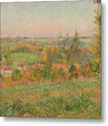 The Hills Of Thierceville Seen From The Country Lane Metal Print