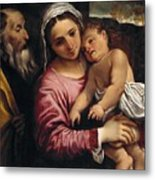 The Holy Family , Annibale Carracci Metal Print