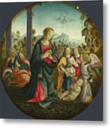 The Holy Family With Angels Metal Print