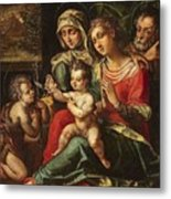 The Holy Family With Saint Anne And Saint John Metal Print