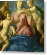 The Holy Family With The Infant Saint John The Baptist, Madonna Stroganoff  Metal Print