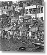 The Holy Ganges - Paint Bw Metal Print