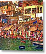 The Holy Ganges - Paint Metal Print