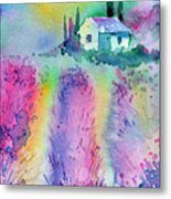 The House By The Lavender Field Metal Print