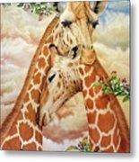 The Hug - Giraffes Metal Print