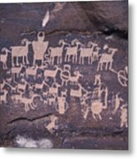 The Hunt Scene- Ancient Pueblo-anasazi Metal Print by Ira Block