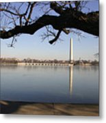 The Iced-over Tidal Basin In Mid-winter Metal Print