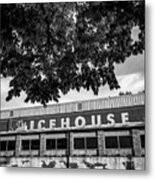 The Icehouse - Black And White - Bentonville Market District - Square Print Metal Print
