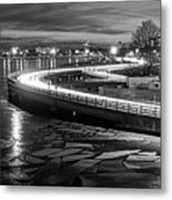 The Icy Charles River At Night Boston Ma Cambridge Black And White Metal Print