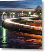 The Icy Charles River At Night Boston Ma Cambridge Metal Print