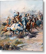 The Indian Encirclement Of General Custer At The Battle Of The Little Big Horn Metal Print