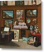 The Interior Of A Picture Gallery With Connoisseurs Admiring Paintings Metal Print
