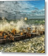 The Jetty Storm Metal Print
