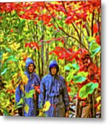 The Joys Of Autumn Camping - Paint Metal Print
