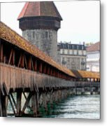 The Kapellbrucke On The River Rueuss Metal Print