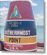 The Key West Florida Buoy Sign Marking The Southernmost Point On Metal Print