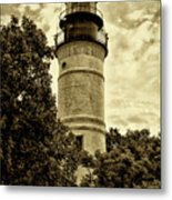 The Key West Lighthouse In Sepia Metal Print
