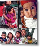 The Kids Of India Collage Metal Print