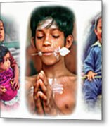 The Kids Of India Triptych Metal Print