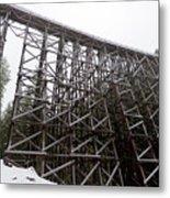 The  Koksilah River Trestle With Snow 1. Metal Print