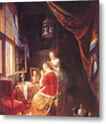 The Lady At Her Dressing Table 1667 Metal Print