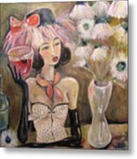 The Lady In The Flower Hat Metal Print