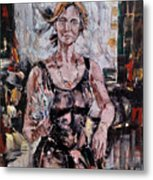 The Lady With The Fan Metal Print