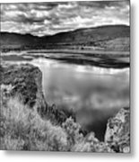 The Lake In Black And White Metal Print