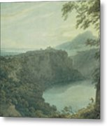 The Lake Of Nemi And The Town Of Genzano Metal Print
