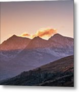 The Last Light Of The Day Over Snowdon. Metal Print