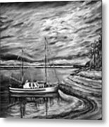 The Last Sunset Before Sailing Black And White Metal Print