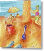 The Leaning Sand Castle Metal Print