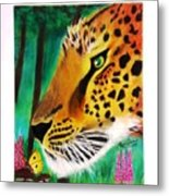 The Leopard And The Butterfly Metal Print