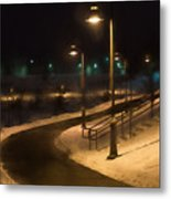 The Library Path In Winter Metal Print