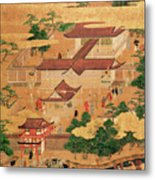 The Life And Pastimes Of The Japanese Court - Tosa School - Edo Period Metal Print
