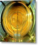 The Light Bulb Inside The Fresnel Of A Lighthouse Metal Print