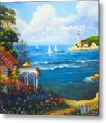 The Light House By The  Sea Metal Print