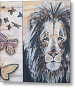 The Lion And The Butterflies Metal Print
