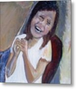 The Little Angel Laughs Metal Print