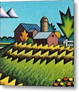 The Little Farm On The Grassy Hill Metal Print