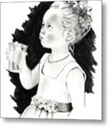 The Little Flower Girl Metal Print