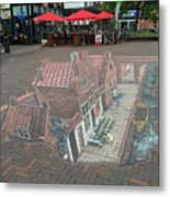 The Little Street By Vermeer In 3d Metal Print