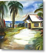The Little Yellow Beach House Metal Print