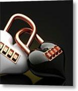 The Lock Code Puzzle Heart. Metal Print
