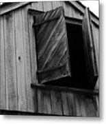 The Loft Door In Black And White Metal Print