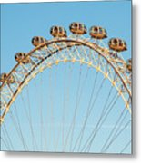 The London Eye Ferris Wheel Against A Cold Blue Winter Sky Metal Print